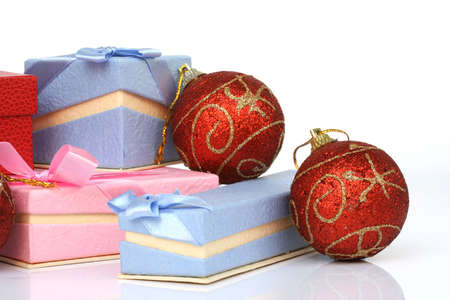 christmas balls and gif boxes isolated on white background photo