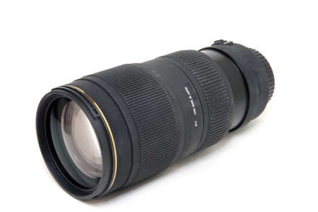 closeup of autofocus zoom lense isolated on white background Stock Photo