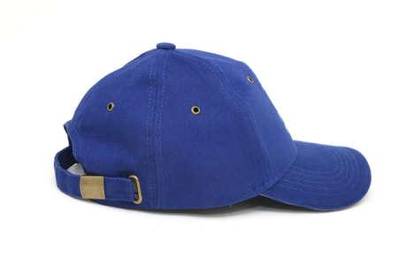 blue baseball hat closeup isolated on white background