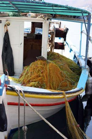 fishingnet: detail from fishing boat yellow fishingnet Stock Photo
