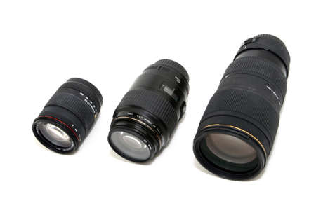 variation of auto camera lenses isolated on white