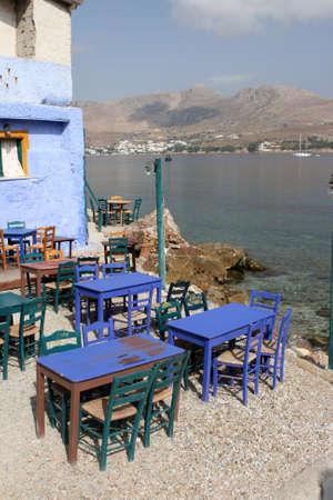 dodecanese: traditional greek taverna Leros island dodecanese greece Stock Photo