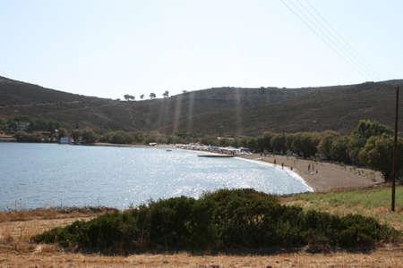 view of agrio livadi beach patmos island greece Foto de archivo