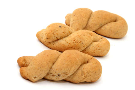 three traditional greek home made cookies isolated Foto de archivo