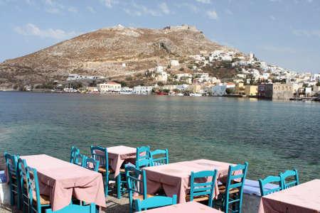 traditional greek taverna Leros island dodecanese greece Foto de archivo