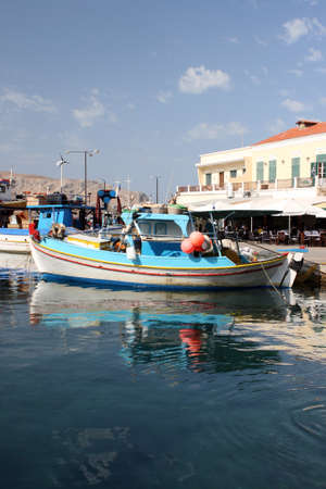 fishing boats moored at leros island greece Stock Photo - 4078125