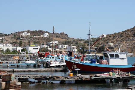 dodecanese: fishing boats mooring at the port of skala patmos island dodecanese greece
