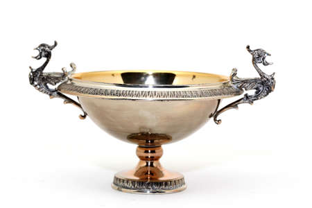 antique decorational silver cup isolated on white background