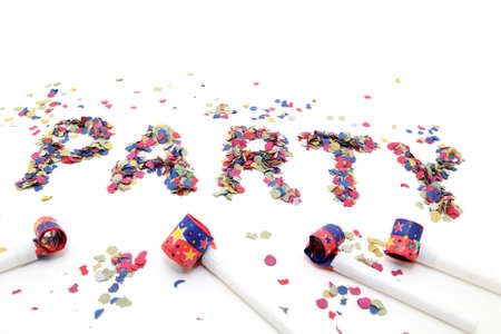 confetti party and blowers with copyspace isolated