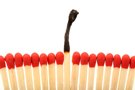burned stick difference wooden matchsticks with copyspace isolated Stock Photo - 4197029