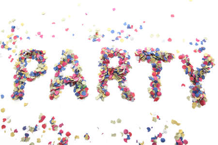 party word with confetti isolated on white background photo