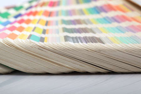 detail from pantone color scale samples with reflection lithography printing  industry