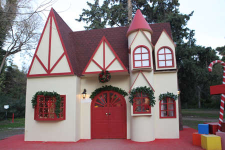 artificial lights: the house of santa claus artificial structure in athens national garden greece Stock Photo