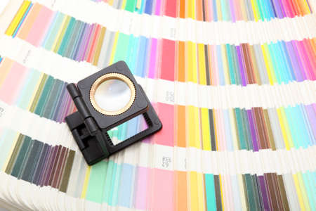 lithography and printing magnifaying glass color samples scale