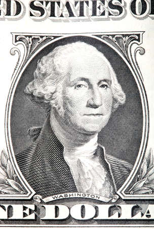 gravure of george washington detail from an old one dollar banknote Foto de archivo