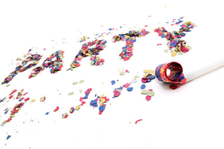 blowers: confetti party and blowers with copyspace isolated