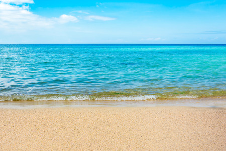 Blue sea and a moving reflection of sunlight . White sandy beach on vacation Stock Photo