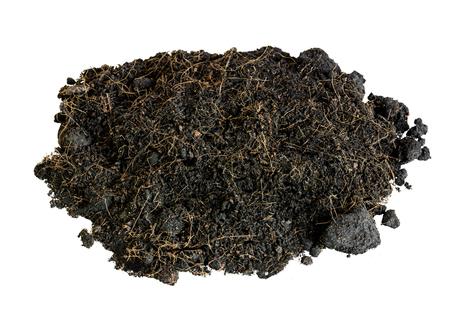 turba: suelo aislar negro sobre fondo blanco