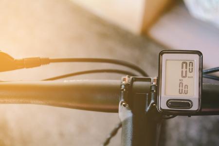close-bicycle handlebars and Speedometer on Marble floor