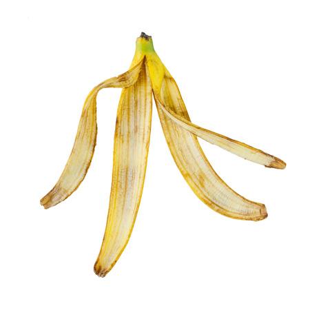 banana skin: banana peel yellow bruised isolate on white background