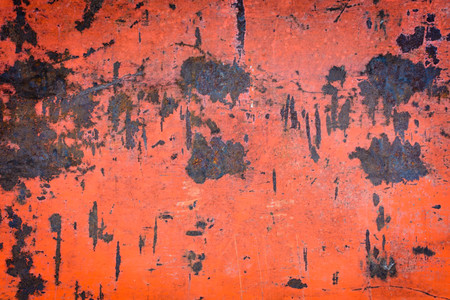 sheet metal: old red iron wall has rust and stains on the background and texture Stock Photo