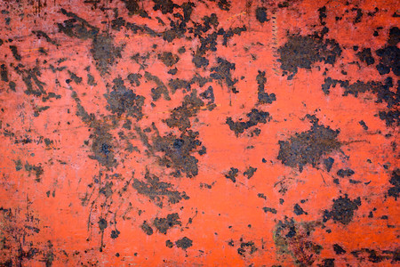 rusts: old red iron wall has rust and stains on the background and texture Stock Photo