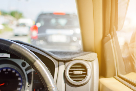 Driving on road trips and traffic for safety at Daytime