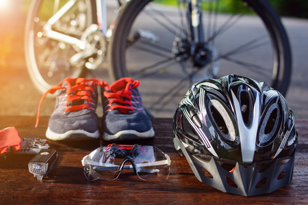 set bicycle equipment on a top wood with healthy sports