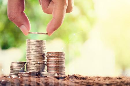 Growing saving money concept.Money management and Financial chart 版權商用圖片
