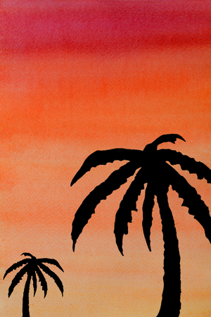 watercolor silhouettes coconut on the beach