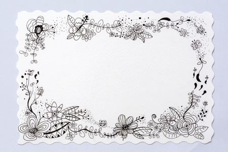 drawing flower with sketch on white background