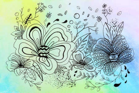 drawing flower and rainbow watercolor with background decoration