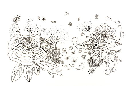 doodle flower fantasy with sketch on white background
