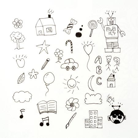 set doodle kid sketch with llustration background