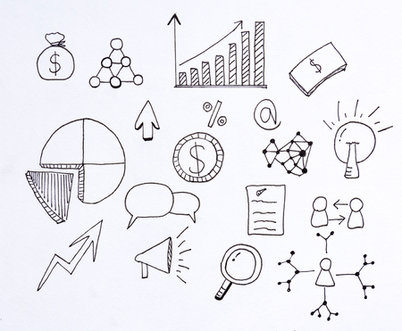 doodle business and finance with illustration sketch