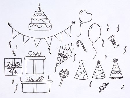 doodle set party sketch with  illustration drawing