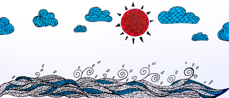 sea doodle sketch and sky cloud with summer background 版權商用圖片