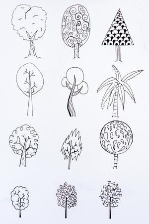doodle tree sketch design with illustration drawing 版權商用圖片