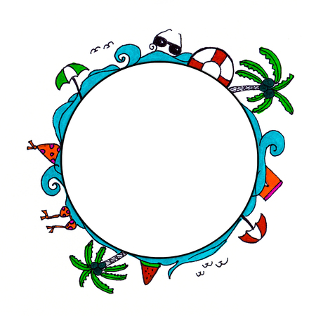 doodle summer sketch symbol with vacation holiday