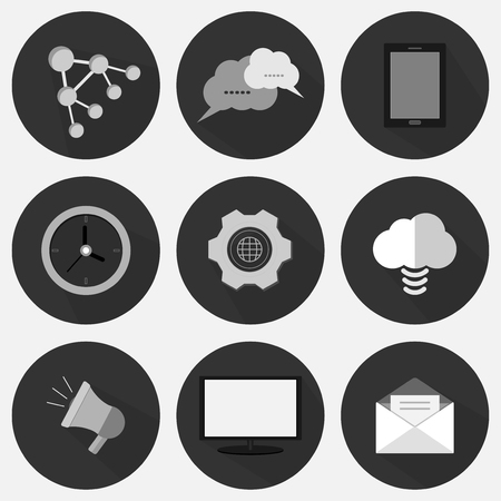 set flat icon business gray with vector symbol design  イラスト・ベクター素材