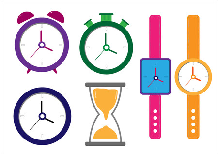 set flat icon clock time with vector symbol design