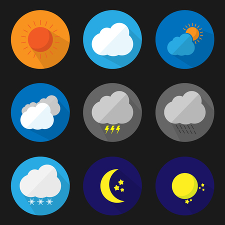 set flat icon weather with vector symbol design