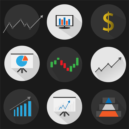set flat icon finance with vector symbol design