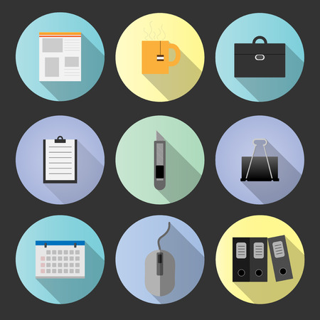 set flat icon office object with vector symbol design Illustration