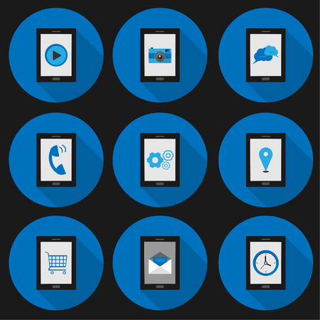 set flat icon smartphone social with vector symbol design