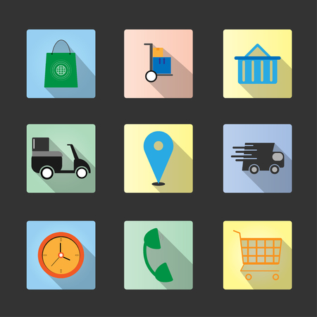 Set flat icons shopping online with long shadow vector design