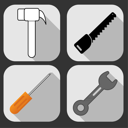 Set flat icon Equipment technician with long shadow vector design