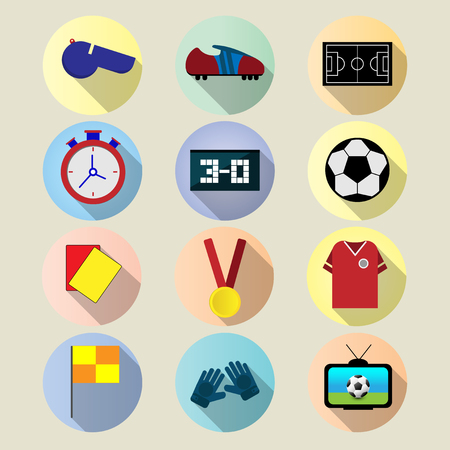 Set Flat icon football with long shadow vector design
