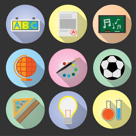 Set flat icon education with long shadow vector design Illustration