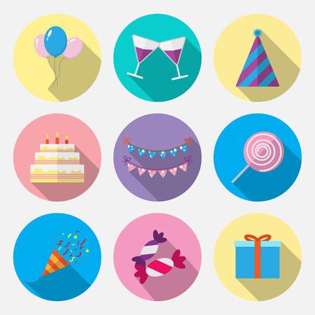 Set flat icon birthday with long shadow vector design Illustration